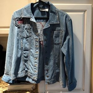 Chico's Jean jacket with heart decals on back